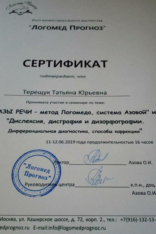 Терещюк Татьяна Юрьевна