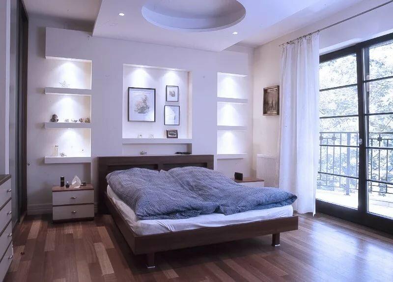 роскошной фото короб из гипсокартона ниша над кроватью сколько