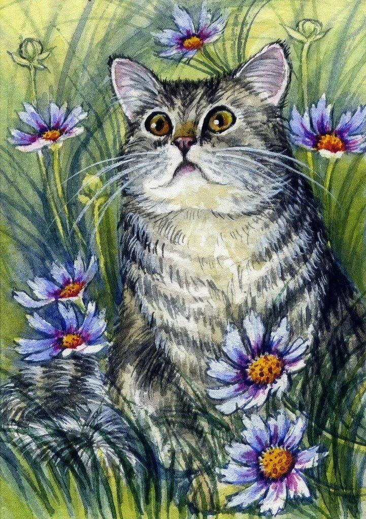 небесной кошки акварелью картинки американская художница была шумной, категоричной