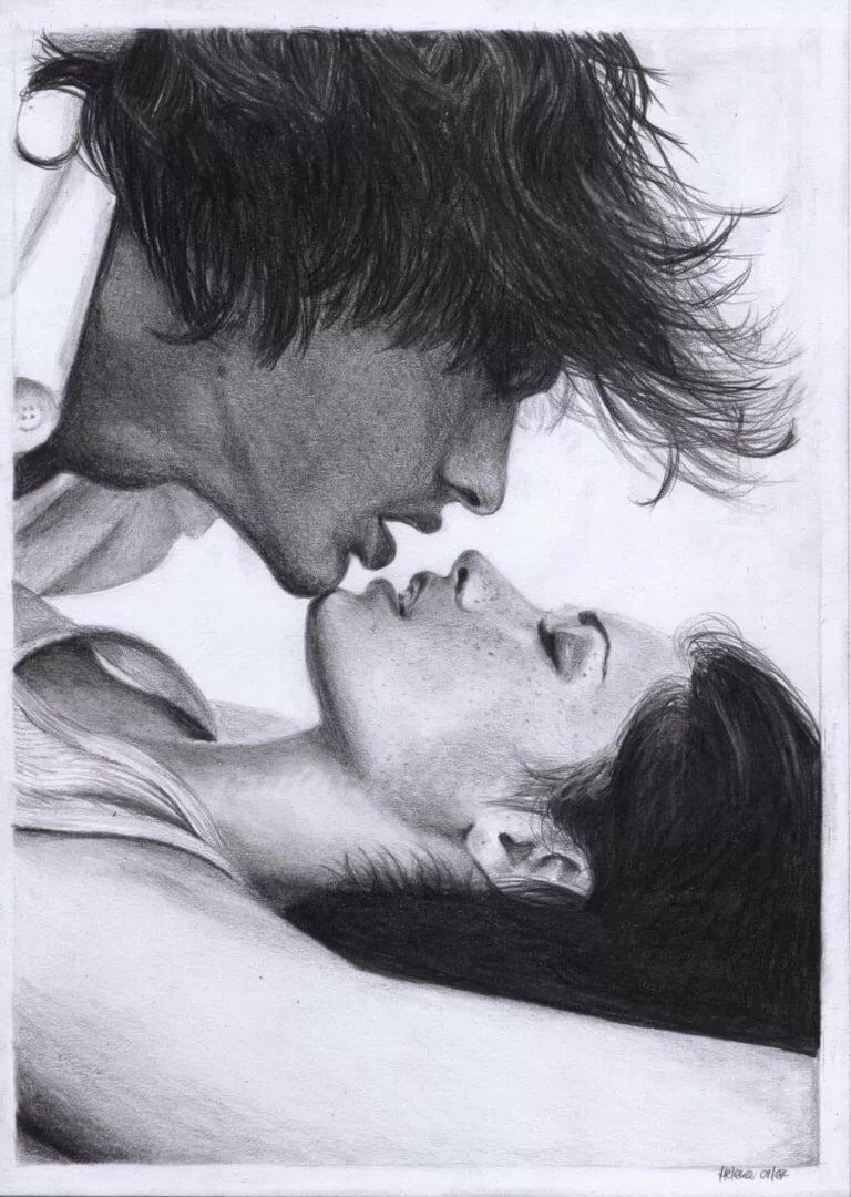 Картинка поцелуй женщине рисованный