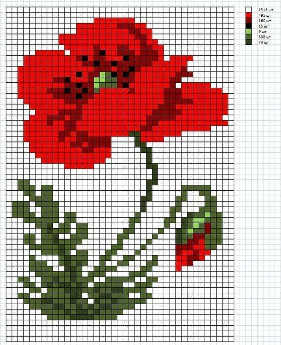 Для, вышивка крестиком схемы по клеточкам картинки цветы