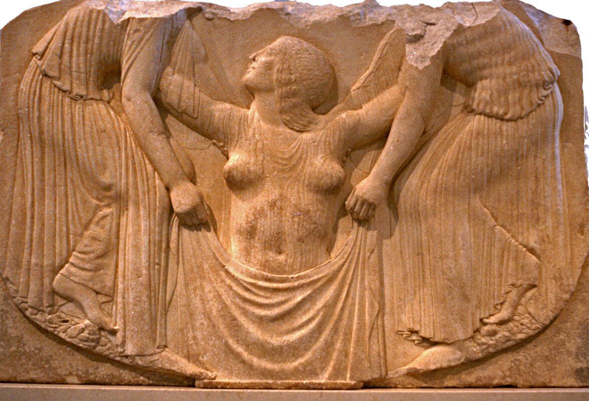 Барельеф греческий. Рождение Афродиты. начало 5 в. до н. э. музей Терм в Риме.