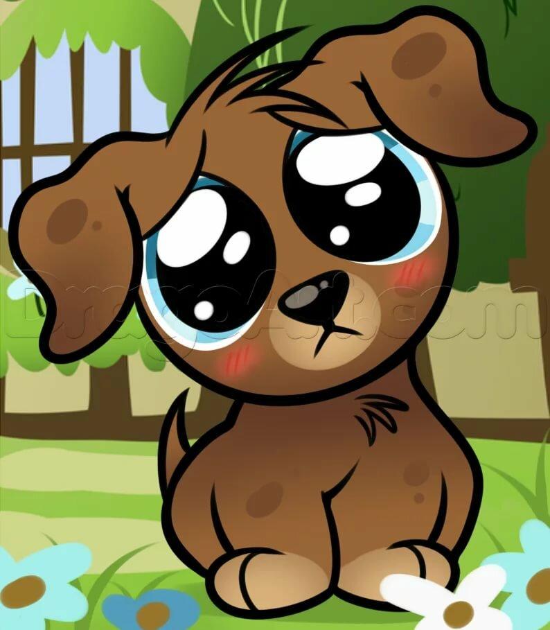 Картинки собак мультяшных с большими глазами