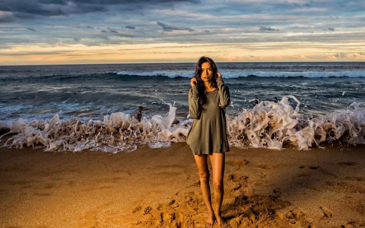 Открытка, картинки девушка у моря