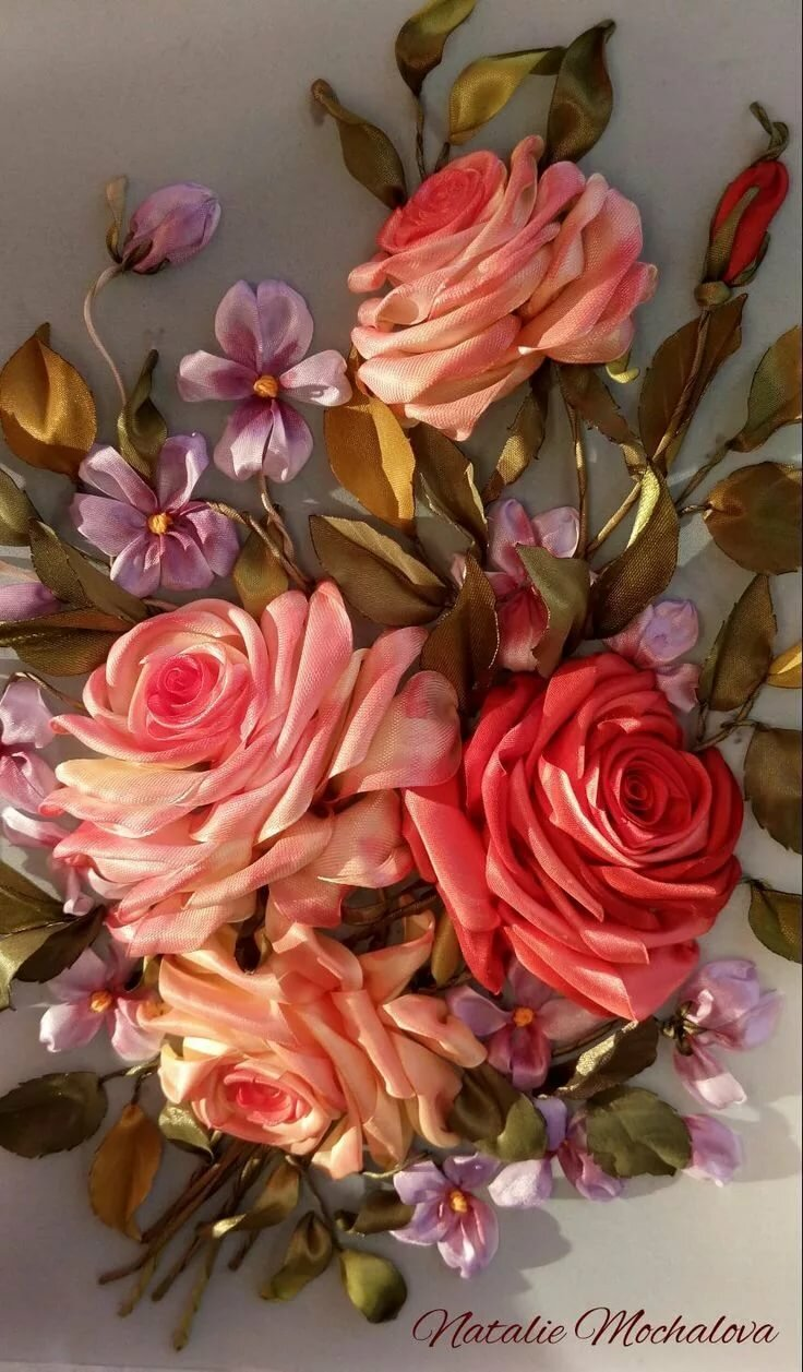 Фолдинг, вышивка лентами картинки розы
