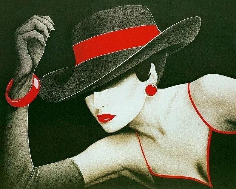 Открытки девушка в шляпе, человек открытка картинки