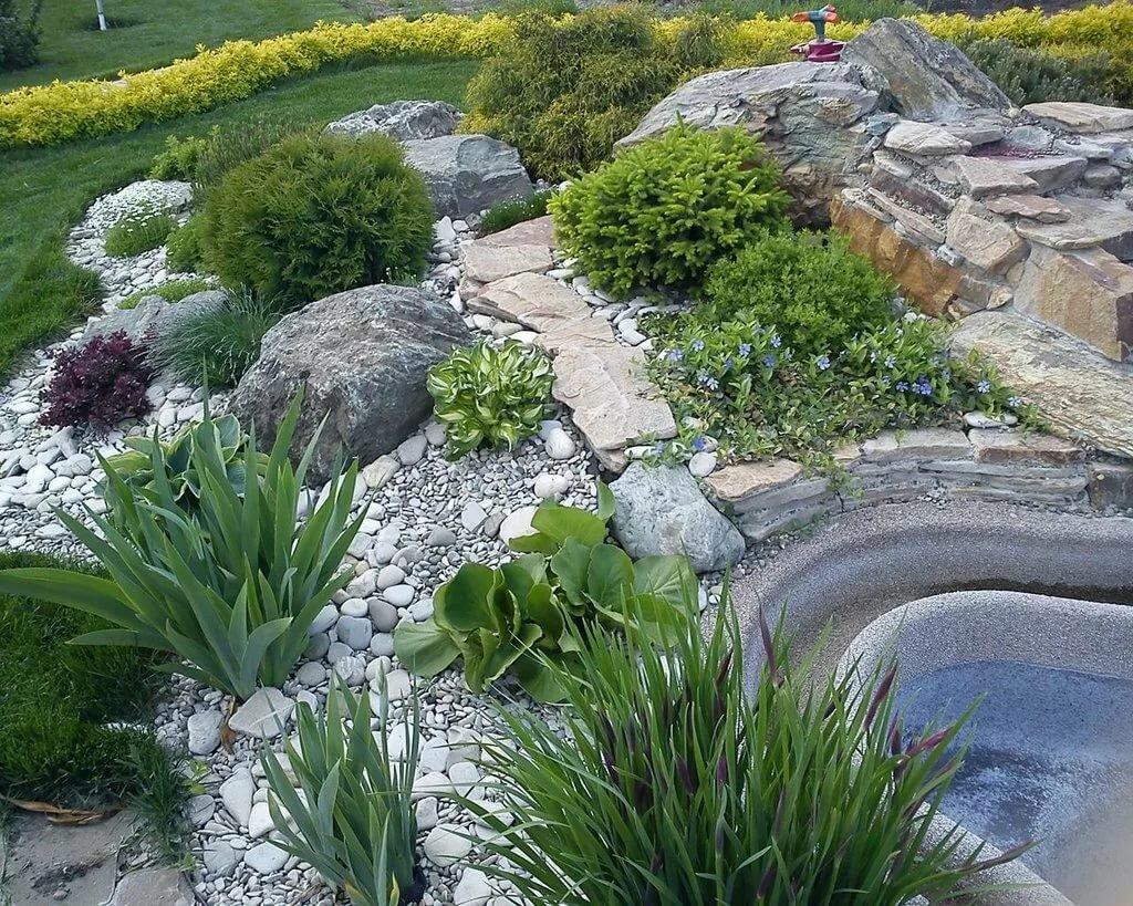 трава и камни дизайн на участке фото