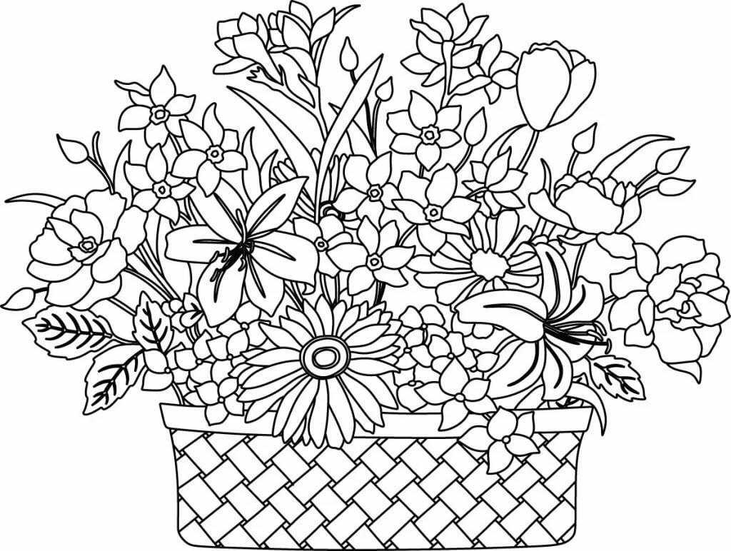 Картинки корзина с цветами нарисованные, день учителя своими