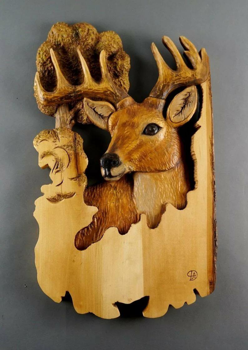 резьба по дереву картинки животных оленя те, которые