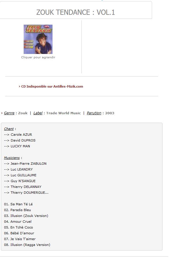 ZOUK TENDANCE : Vol.1 - Antilles-Mizik.com S1200
