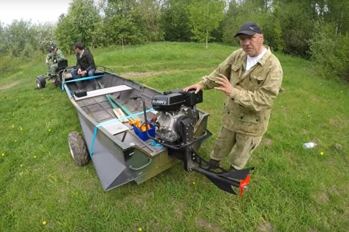 Подвесной лодочный мотор-болотоход Бурлак