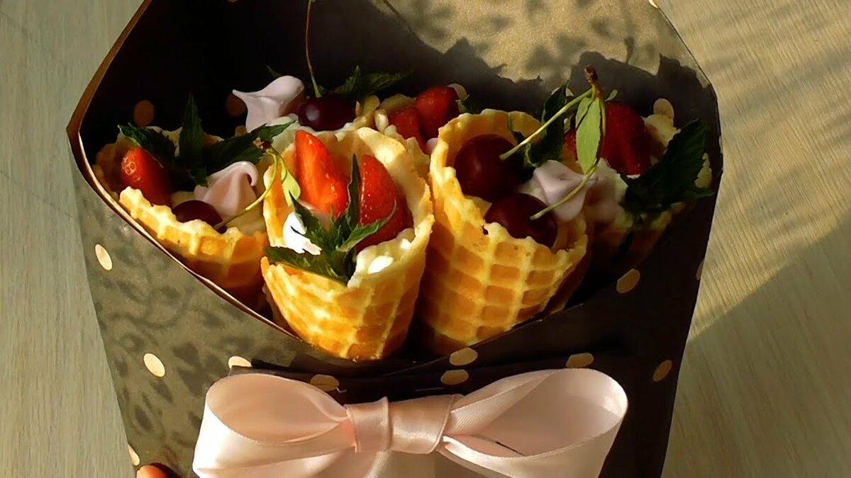 Букет из вафельных рожков, невесты саратов цена