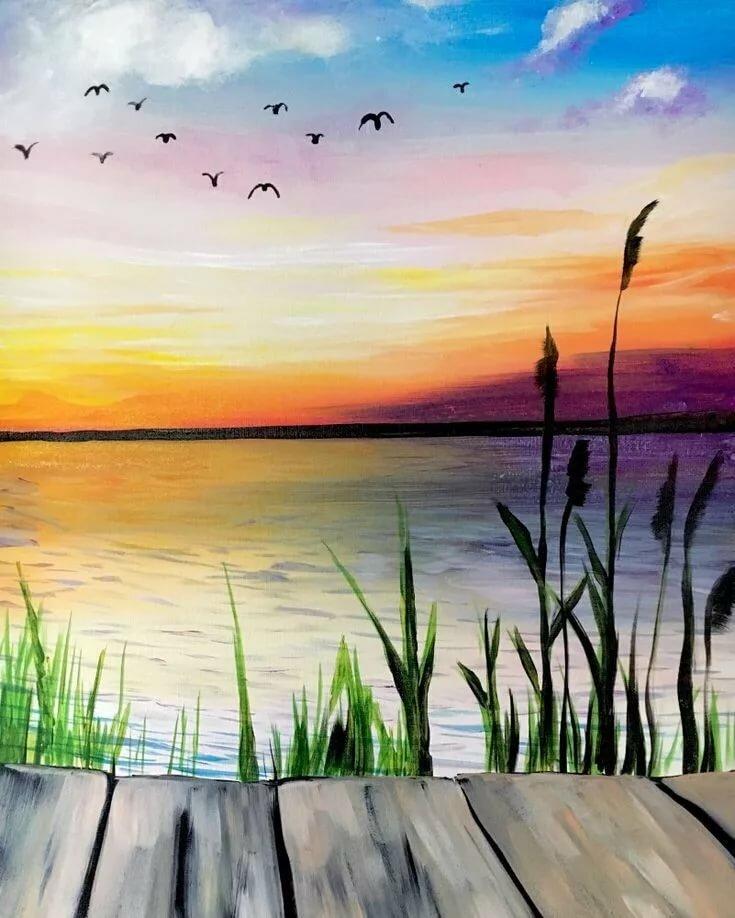 Картинки природа для срисовки гуашью