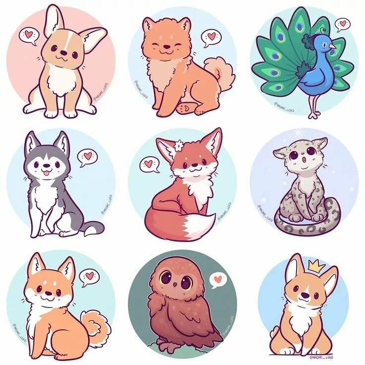 Рисунки чиби животных