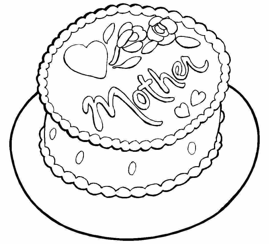 картинки торты на день рождения раскрасить
