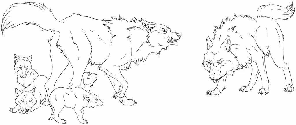 Картинки стаи волков для срисовки