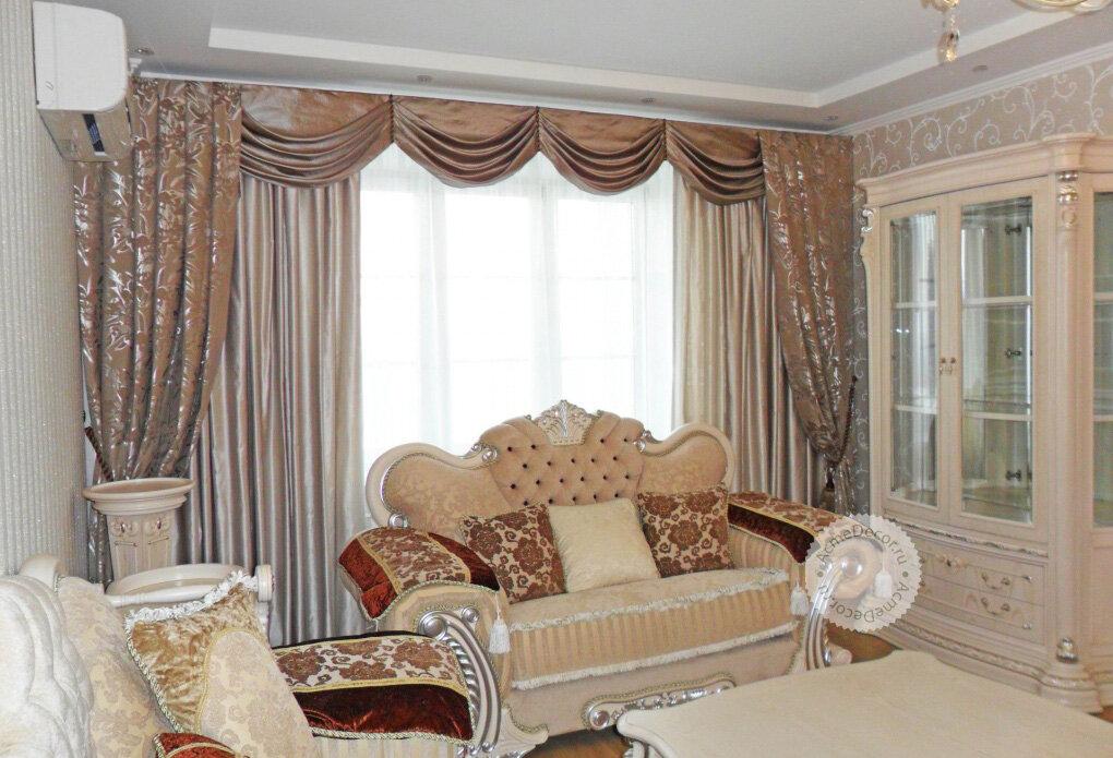 Красивый карниз для штор в гостиную фото