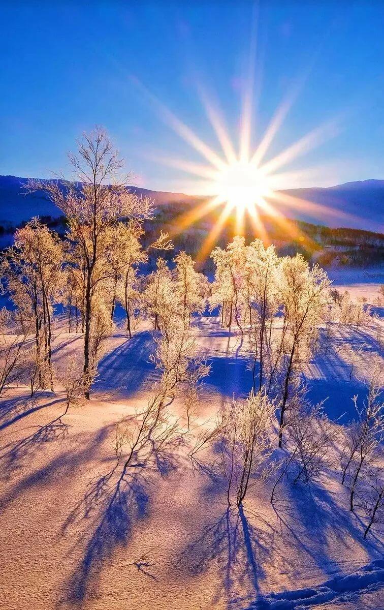 Картинка восход зимнего солнца