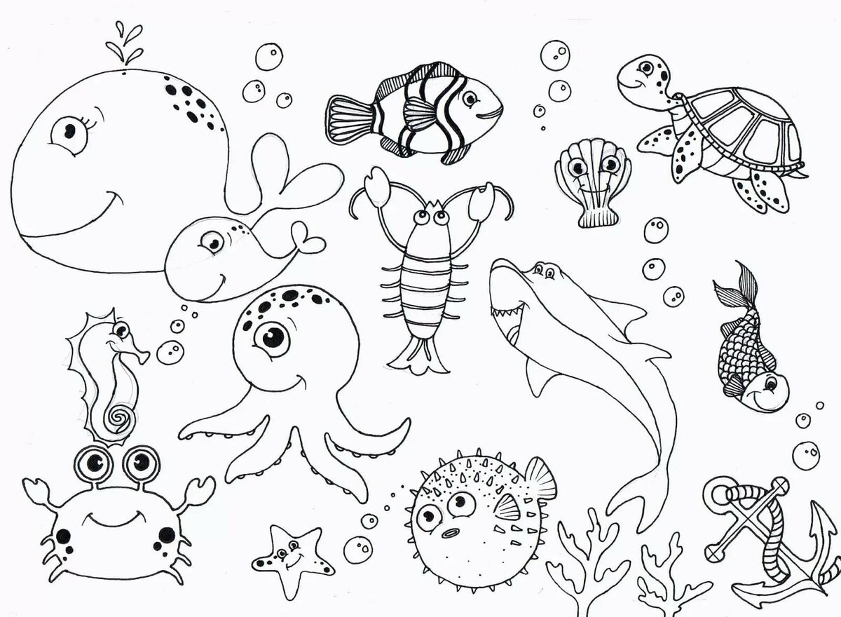 Морские животные картинки нарисованные для детей