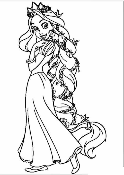 """«""""Раскраска Рапунцель в короне Раскраски принцессы диснея ..."""