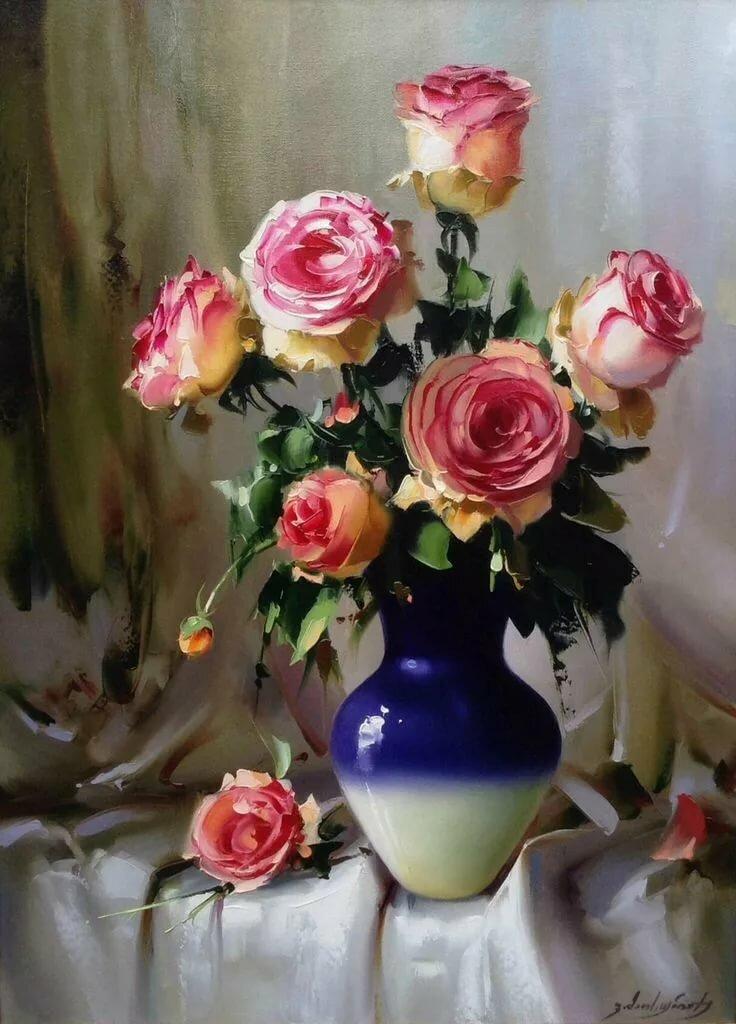 обладает интересными натюрморты с розами масло фото самых вкусных рыб