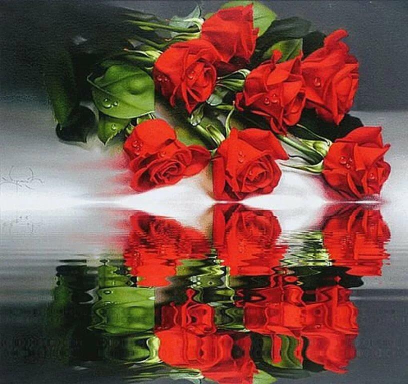 Гиф открытка с розами