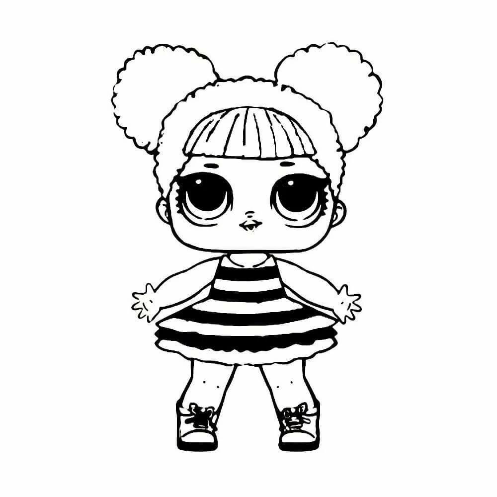 Картинка раскраска для девочек лол