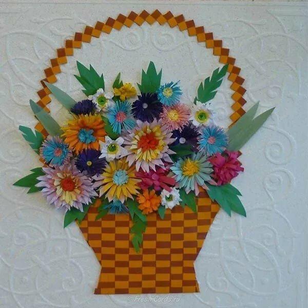 Открытка корзинка с цветами из бумаги, днем