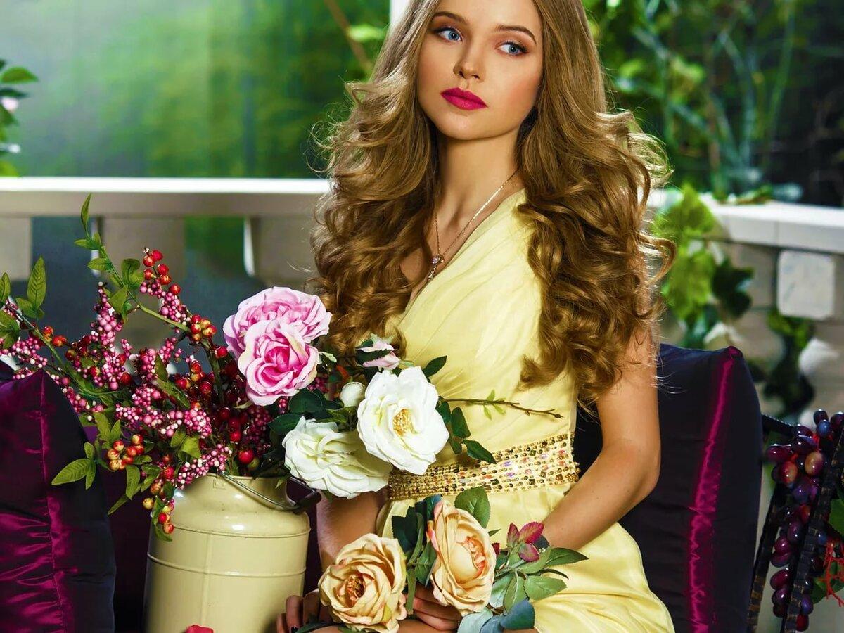Картинка женщина цветы