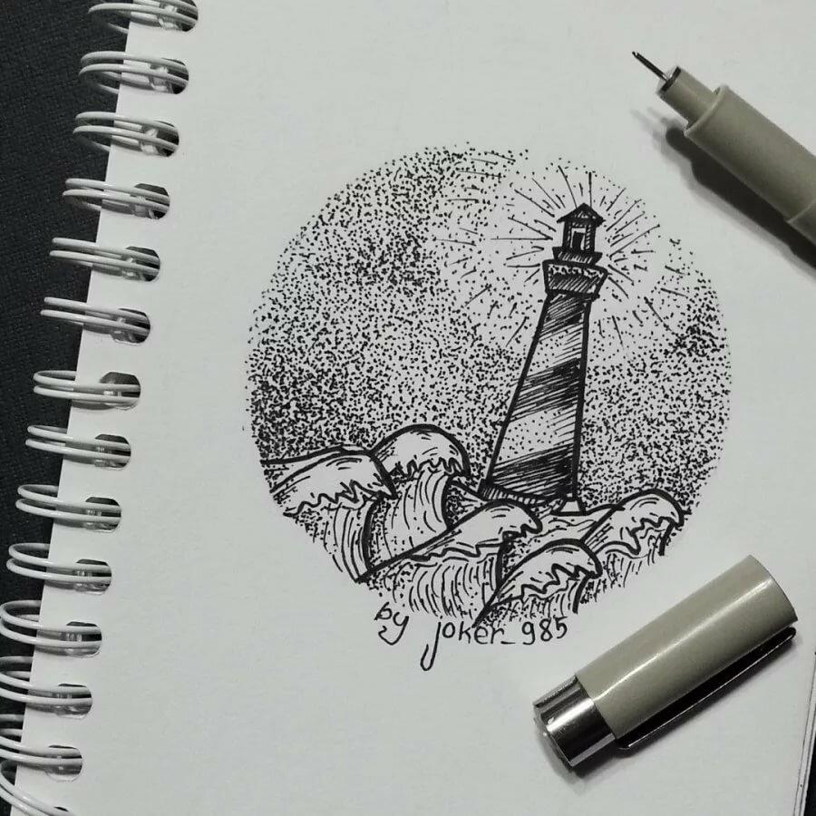 Прикольные рисунки гелевой ручкой в скетчбуке