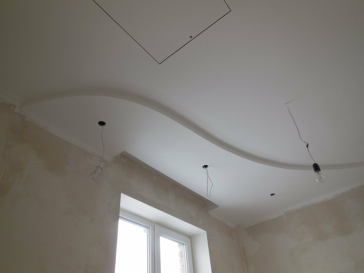 двухуровневые потолки из гкл