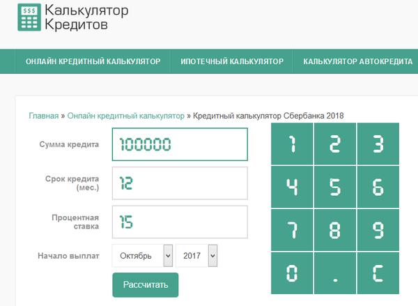 калькулятор автокредитов сбербанк