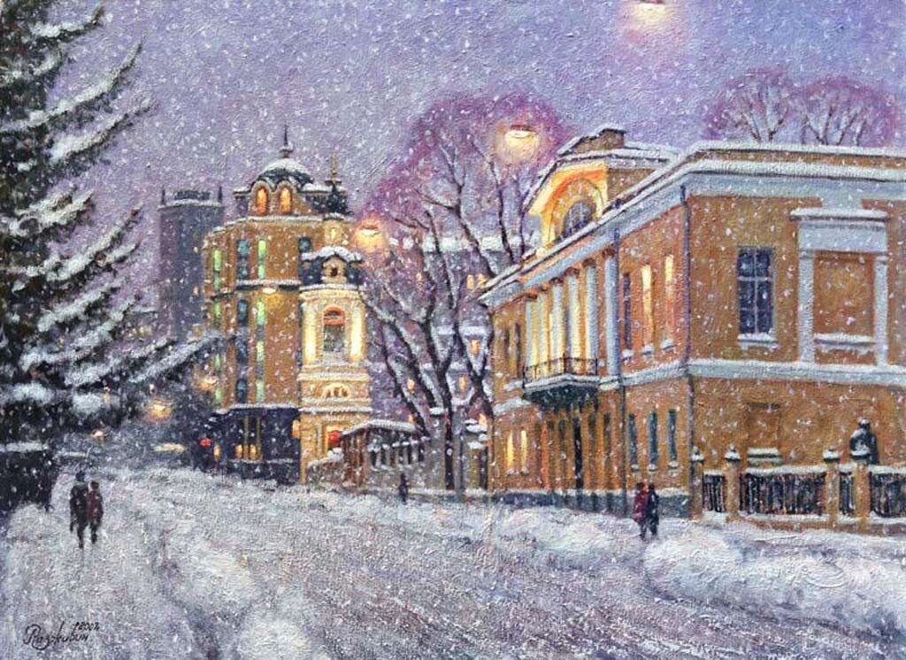 вечерний зимний город картинки нарисовать расчет основных