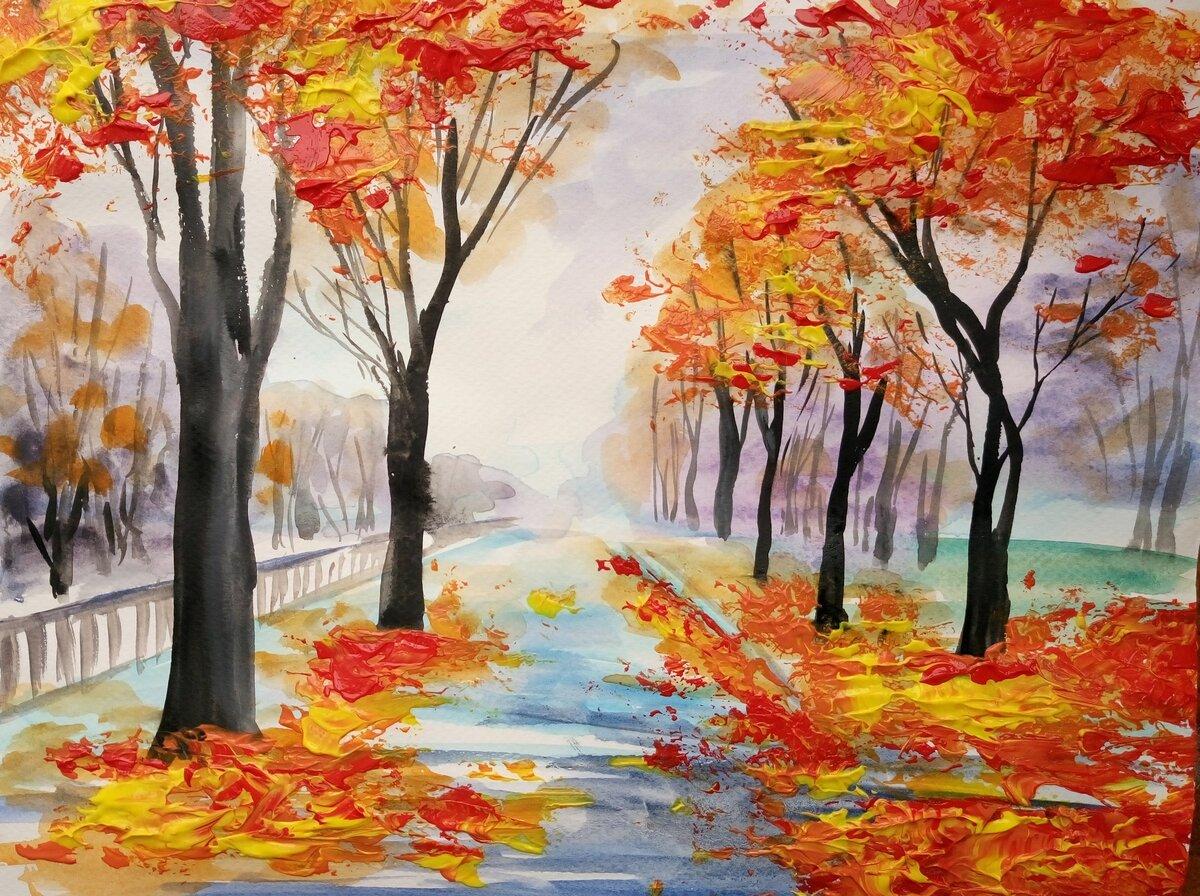 картинка на тему осень нарисовать карандашами фото