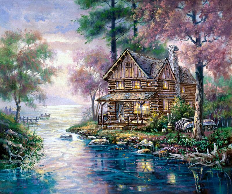 Дом у озера в лесу рисунок