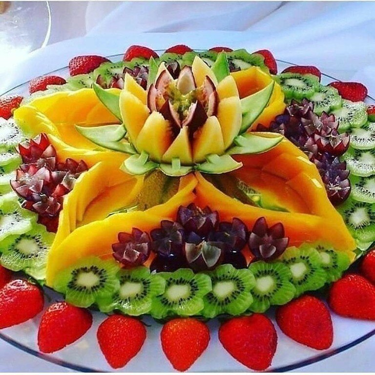 Картинки как украсить фруктами тарелку