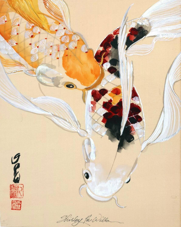 опять навстречу японские рыбки кои рисунок пышной