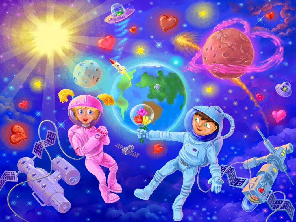 Детские картинки о космонавтике