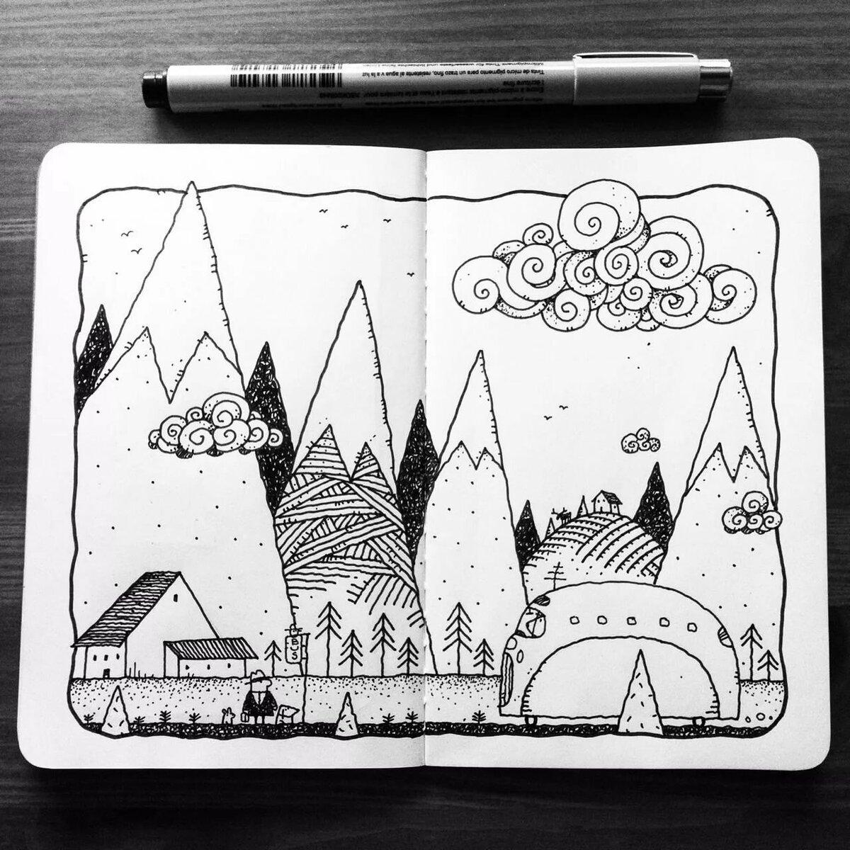Картинки для срисовки карандашом в скетчбуке для начинающих