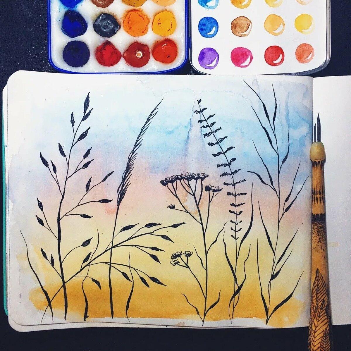 Картинки нарисованные гуашью легкие для срисовки