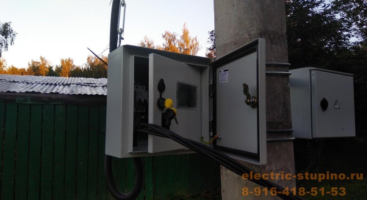 монтаж электрощита на столбе в СНТ