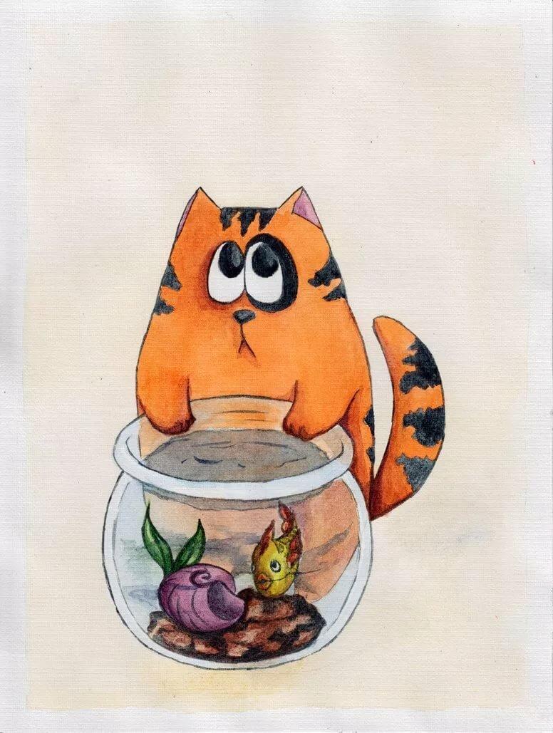 Веселые картинки нарисованные котики