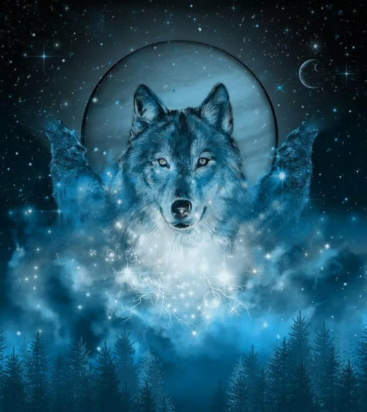 Картинки волков синих