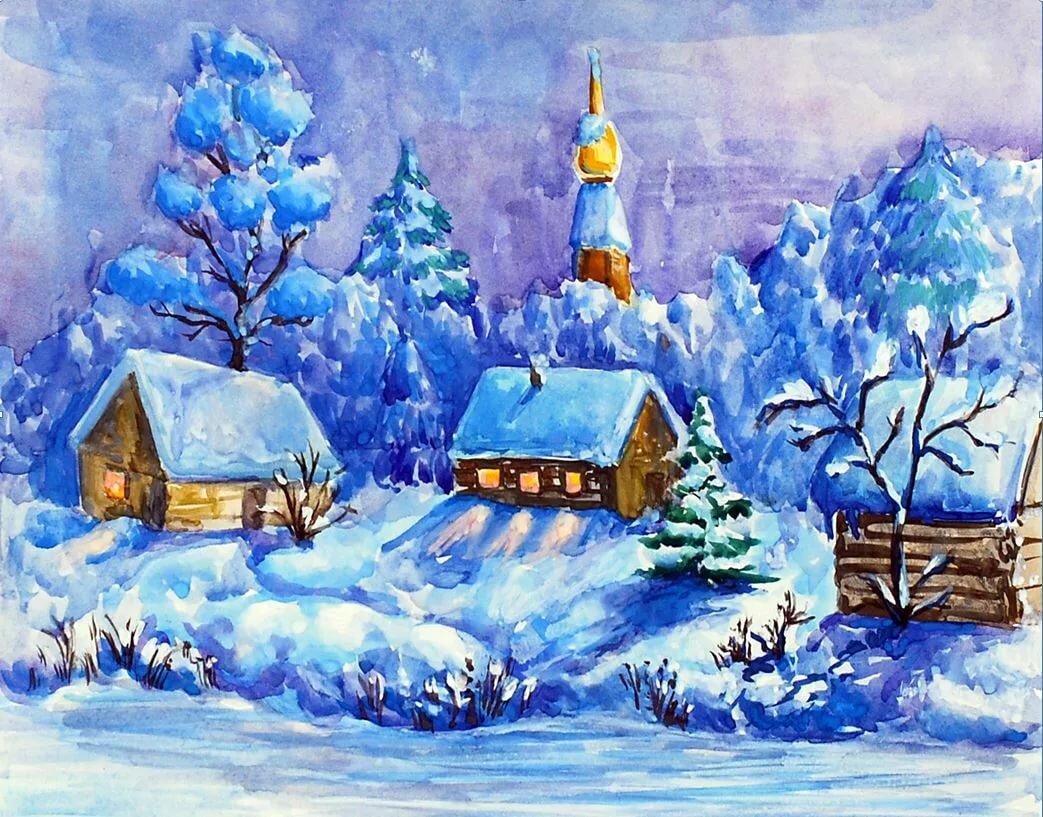 Рисунки картинки на тему зима