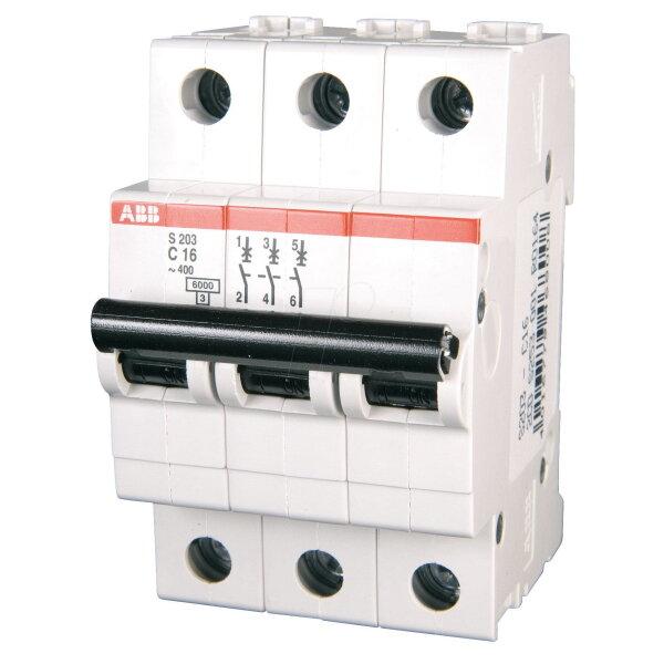 3 полюсный автоматический выключатель ABB серии S 203 С 16