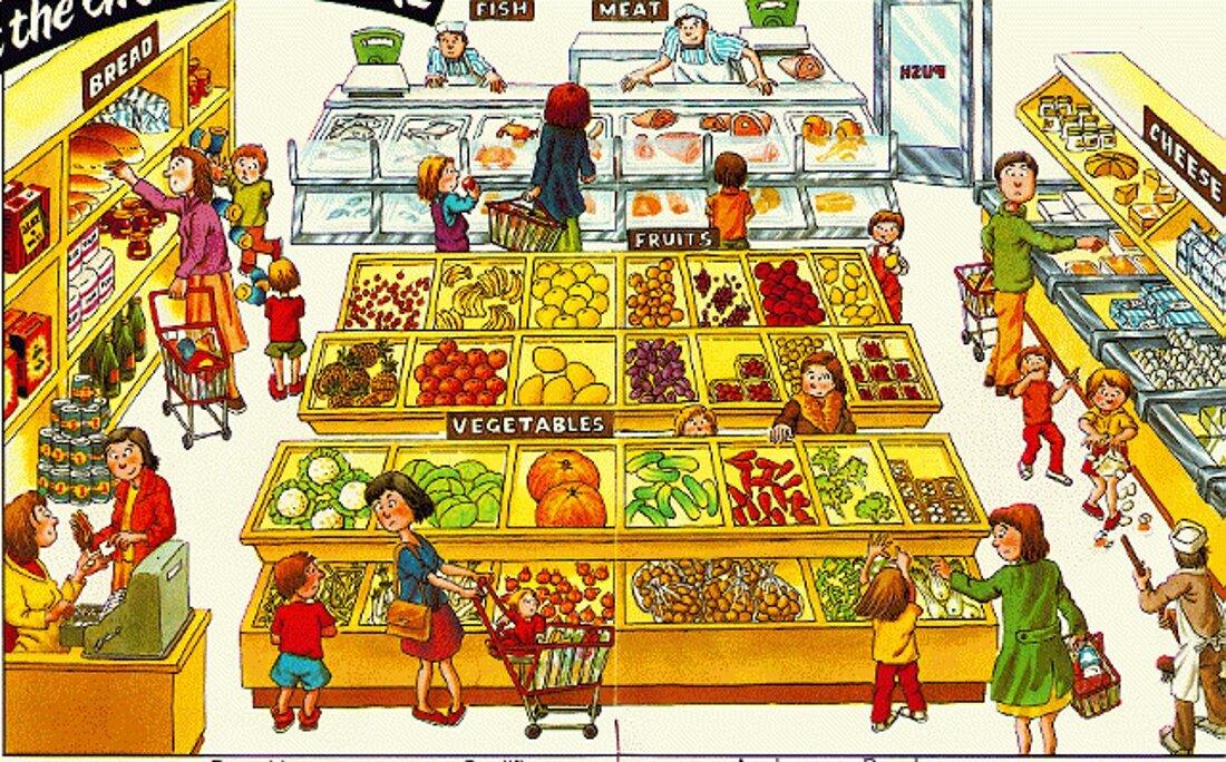 Картинки магазин продуктов для детей