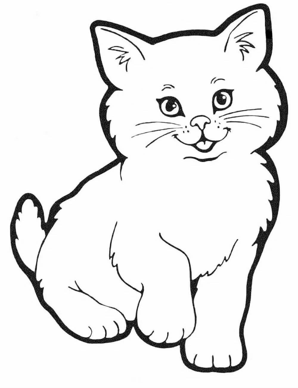 Картинка кошки для разукрашивания