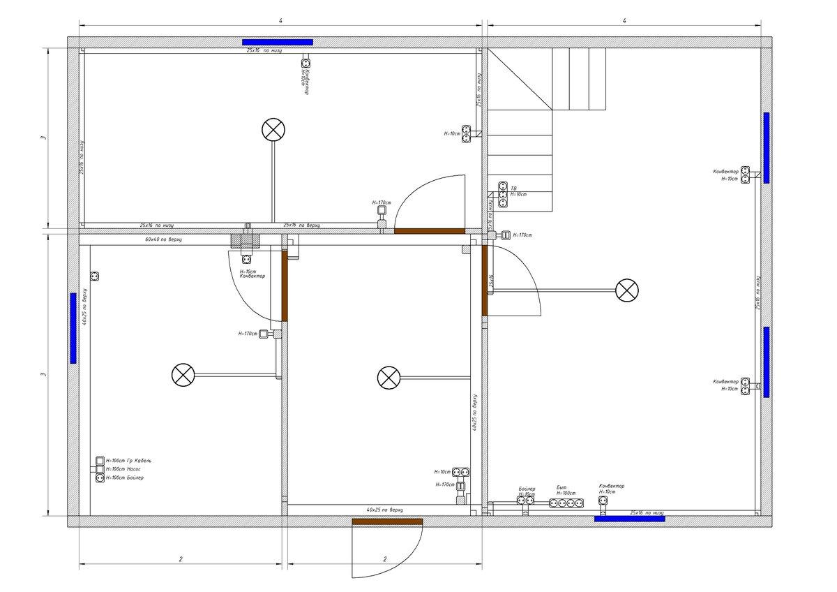 План расположения кабельных трасс в деревянном доме