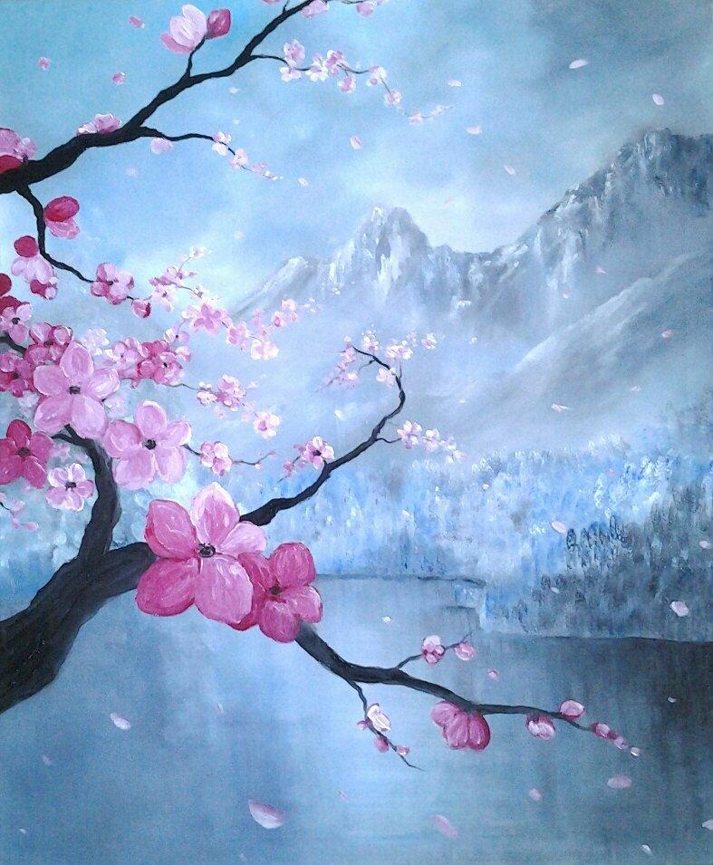 Картинки сакуры красками