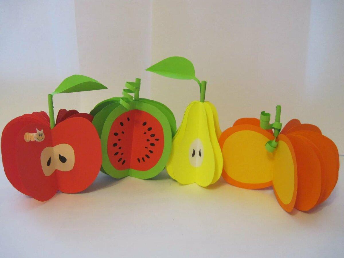 фрукты из цветной бумаги аппликация вами